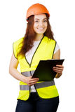 Attractive worker with reflector vest Stock Image