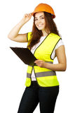 Attractive worker with reflector vest Royalty Free Stock Photo