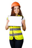 Attractive worker with reflector vest Stock Photography