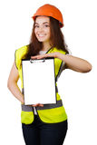 Attractive worker with reflector vest Stock Photo