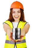 Attractive worker with reflector vest Stock Images