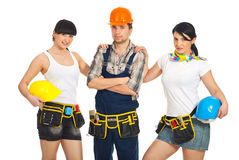 Attractive  workers women and man Royalty Free Stock Images