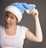 Attractive xmas woman posing Stock Image