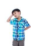 Attractive 7 year old boy making thinking expression. Isolated o Royalty Free Stock Photos