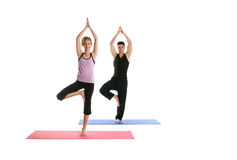 Attractive Yoga Couple. Beautiful couple doing yoga on a white background Stock Photo