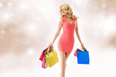 Attractive youg woman doing the shopping Royalty Free Stock Photography