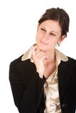 Attractive young adult business woman in thought. Attractive Caucasian young business woman pondering an idea Royalty Free Stock Image