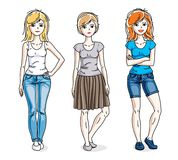 Attractive young adult girls female group standing. Wearing fashionable casual clothes. Vector set of beautiful people illustrations Stock Photo