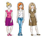 Attractive young adult girls female group standing wearing fashi. Onable casual clothes. Vector set of beautiful people illustrations. Fashion and lifestyle Stock Photography