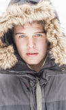 Attractive young adult man in winter clothes Royalty Free Stock Photography