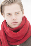 Attractive young adult man in winter clothes Stock Photography