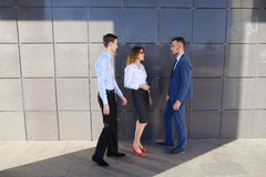 Attractive young adults businessmen, students met up and discuss Royalty Free Stock Images