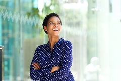 Attractive young african american business woman laughing Stock Image