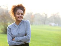 Attractive young african american woman outdoors Royalty Free Stock Photography