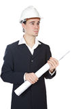 Attractive young architect. A over white background Royalty Free Stock Photos