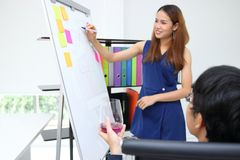 Attractive young Asian business woman explaining strategies on flip chart to executive in boardroom. Attractive young Asian business women explaining strategies royalty free stock photos