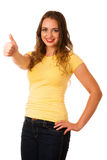 Attractive young asian caucasian woman gesture success with hold Stock Images