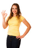 Attractive young asian caucasian woman gesture success Stock Image