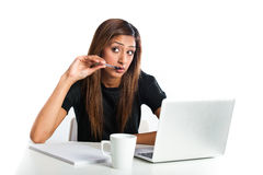 Attractive young asian indian teenage woman studying with laptop Stock Images
