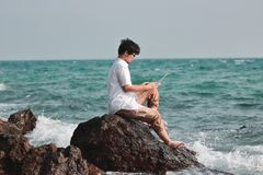Attractive young Asian man with laptop sitting on the rock of turquoise sea shore. Happy vacations time concept. royalty free stock photography