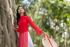 Attractive young Asian woman in traditional dress Stock Photos