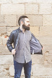 Attractive young bearded man Stock Images