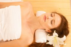 Attractive young, beautiful and healthy woman in spa salon. Trad Stock Photos