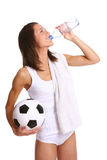 Attractive young and beautiful woman with bottle royalty free stock photos