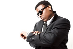 Attractive young black man with shades on Stock Photos