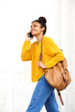 Attractive young black woman talking on mobile phone Stock Photo