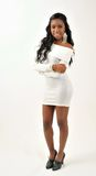 Attractive young black woman - white dress Stock Photo