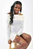 Attractive young black woman - white dress Stock Photography
