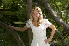 Attractive young blond bride. Half body portrait of attractive young blond haired bride in traditional white wedding dress, trees or wood in background stock photo