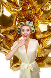 Attractive young blond housewife with astounding Royalty Free Stock Photo