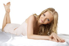Attractive young blond woman lay in lingerie Royalty Free Stock Images