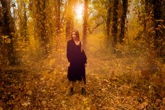 Attractive young blonde girl in black coat in autumn forest Royalty Free Stock Images