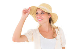 Attractive young blonde smiling in sunhat Royalty Free Stock Image