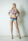 Attractive young blonde woman in blue jeans shorts stock images