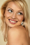 Attractive young blonde woman. Close-up. Royalty Free Stock Photo
