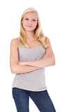 Attractive young blonde woman royalty free stock images