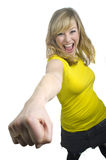 Attractive Young Blonde Woman Punching Royalty Free Stock Photo