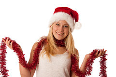 Attractive young blonde woman in santa claus dress - christmass Stock Photos