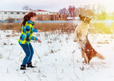 Attractive young boy and girl playing with a dog Stock Photo