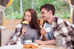 Attractive young boyfriend and girlfriend are Royalty Free Stock Photos