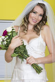 Attractive Young Bride Holding Wedding Bouquet Flowers Royalty Free Stock Image