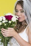 Attractive Young Bride Holding Wedding Bouquet Flowers Stock Photo