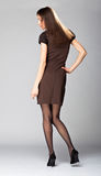 Attractive young brunette; full length portrait. Full length portrait of an attractive young brunette in brown dress on neutral background stock photography