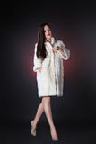 Attractive young brunette in fur coat from mink Stock Images