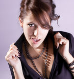 Attractive young brunette model close-up portrait Royalty Free Stock Photography