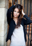 Attractive young brunette posing. royalty free stock images